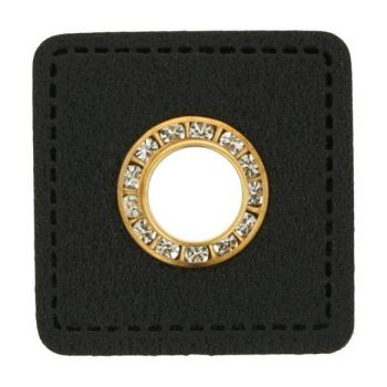 Ösenpatch schwarzes Patch - Diamanten - gold
