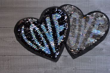 Wendepailletten-Patches Herz Love - neu