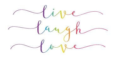 Bügelbild live laugh love