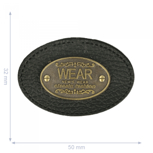 Label Oval Wear schwarz